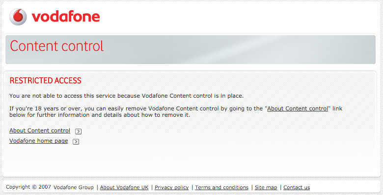 Vodafone informing users that content is blocked